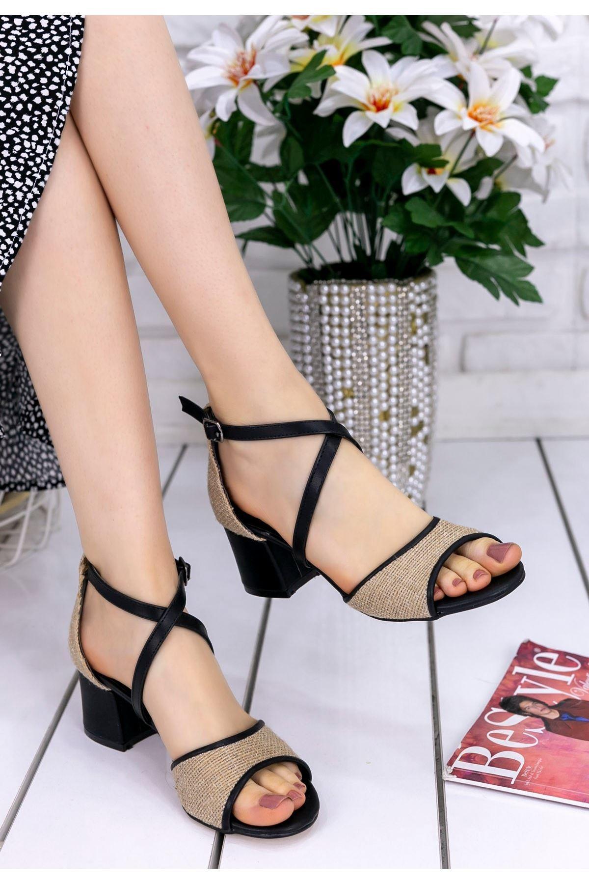 Sherry Siyah Cilt Hasır Detaylı Topuklu Ayakkabı