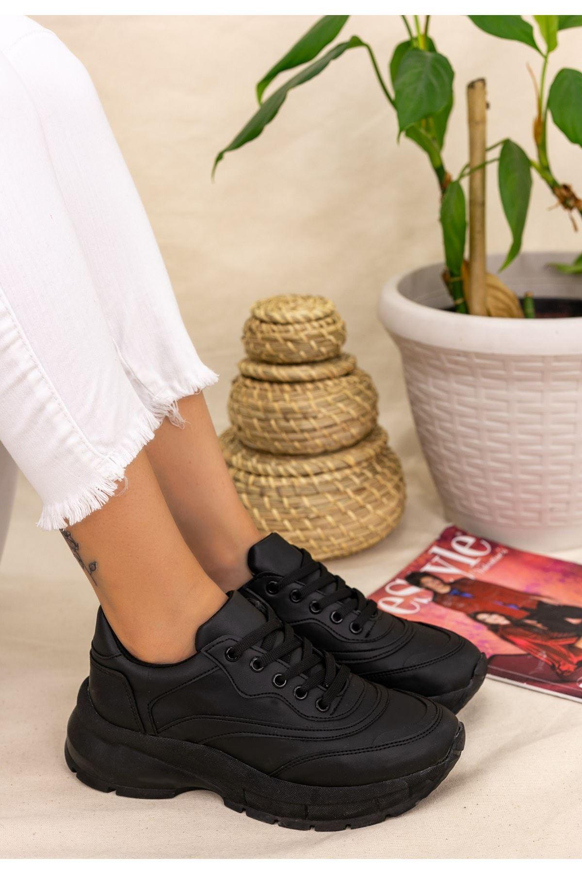 Nataj Siyah Cilt Spor Ayakkabı