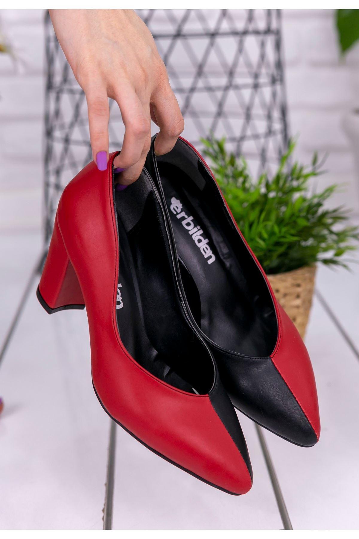 Wilona Siyah Kırmızı Cilt Topuklu Ayakkabı