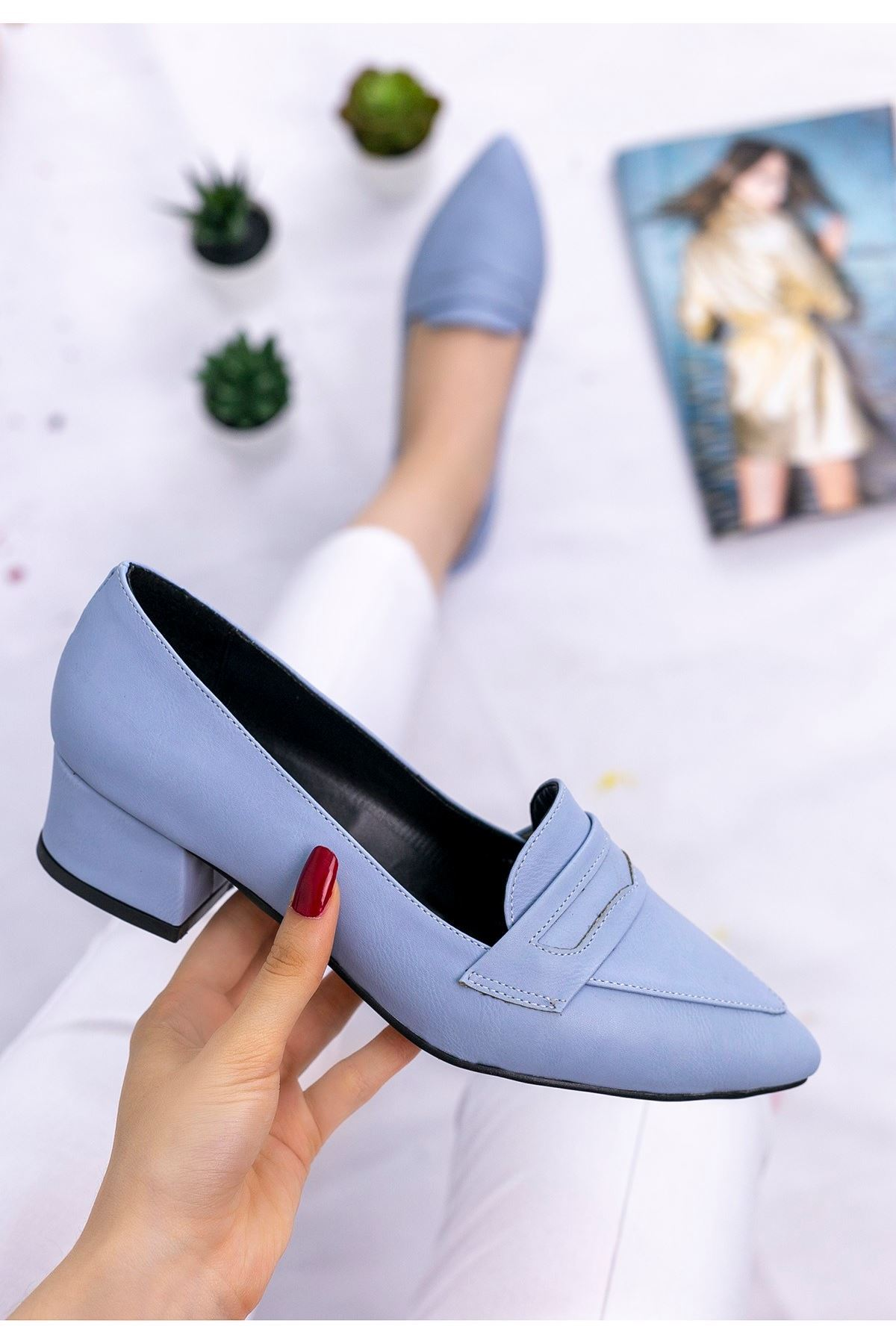 Reyna Bebe Mavisi Cilt Topuklu Ayakkabı