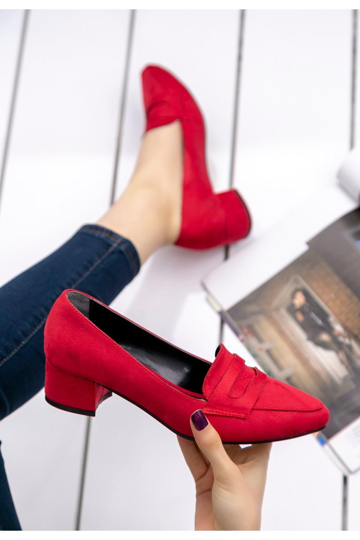 Reyna Kırmızı Süet Topuklu Ayakkabı