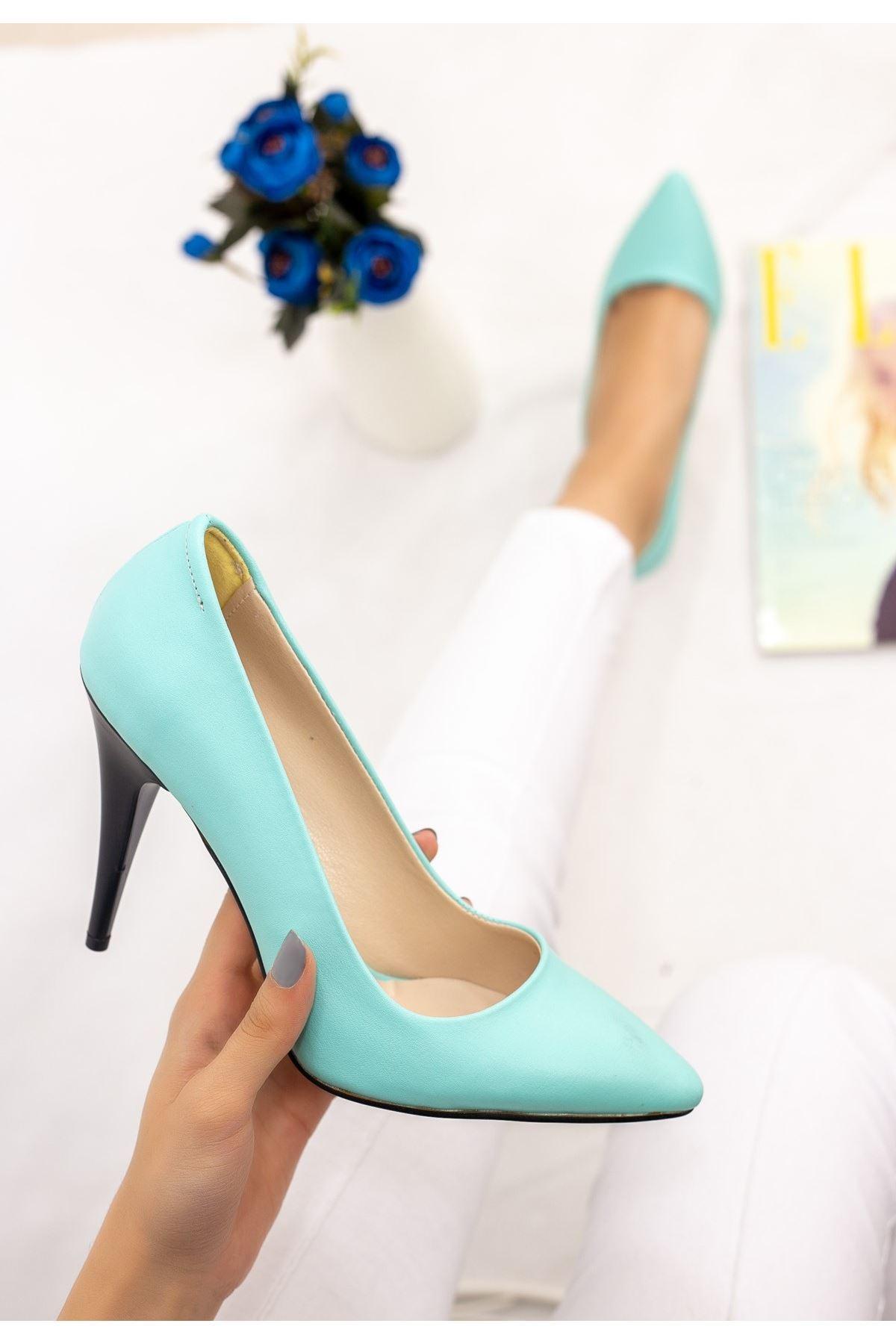 Revaxi Su Yeşili Cilt Desenli Stiletto Ayakkabı