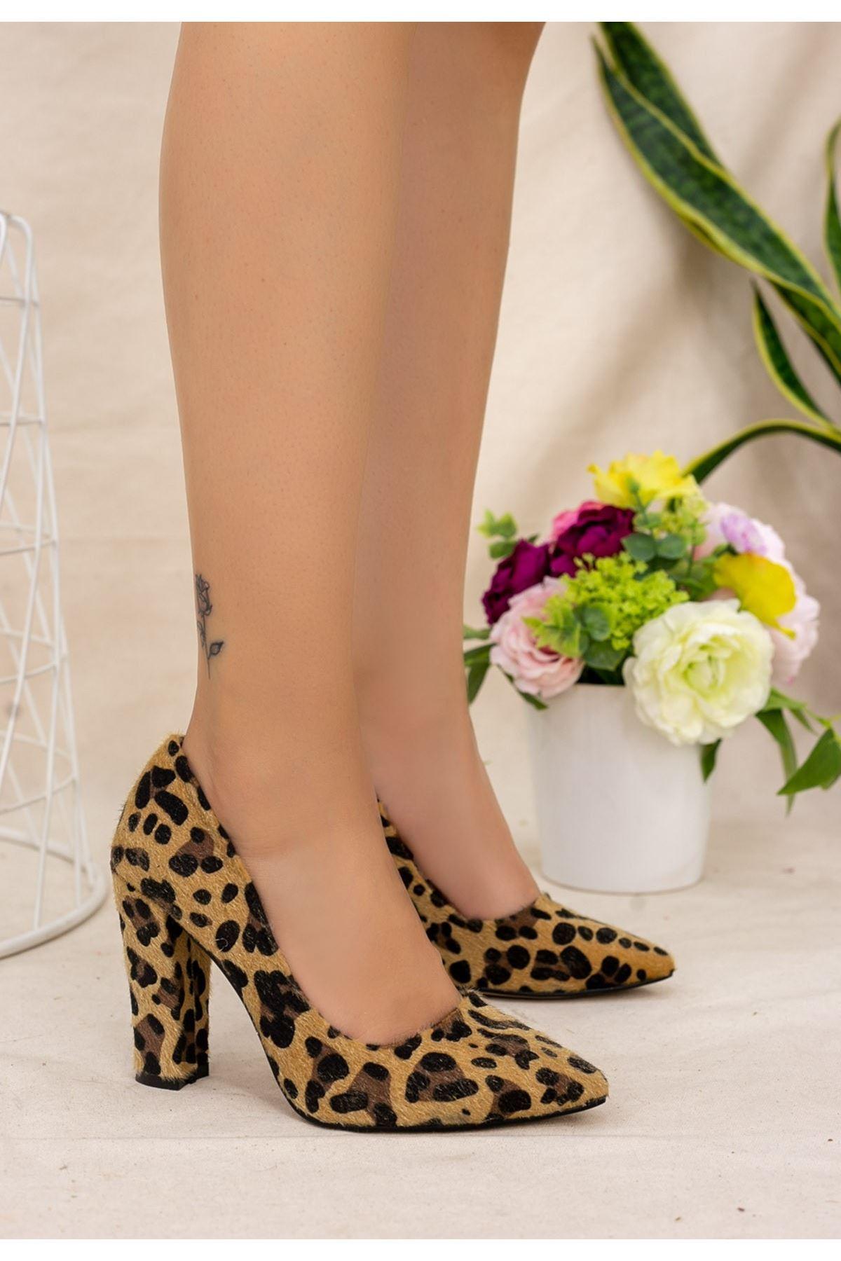 Vart Leopar Süet Topuklu Ayakkabı