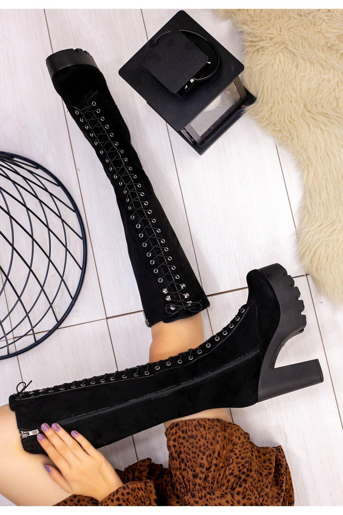 Girita Siyah Süet Platform Topuk Çizme