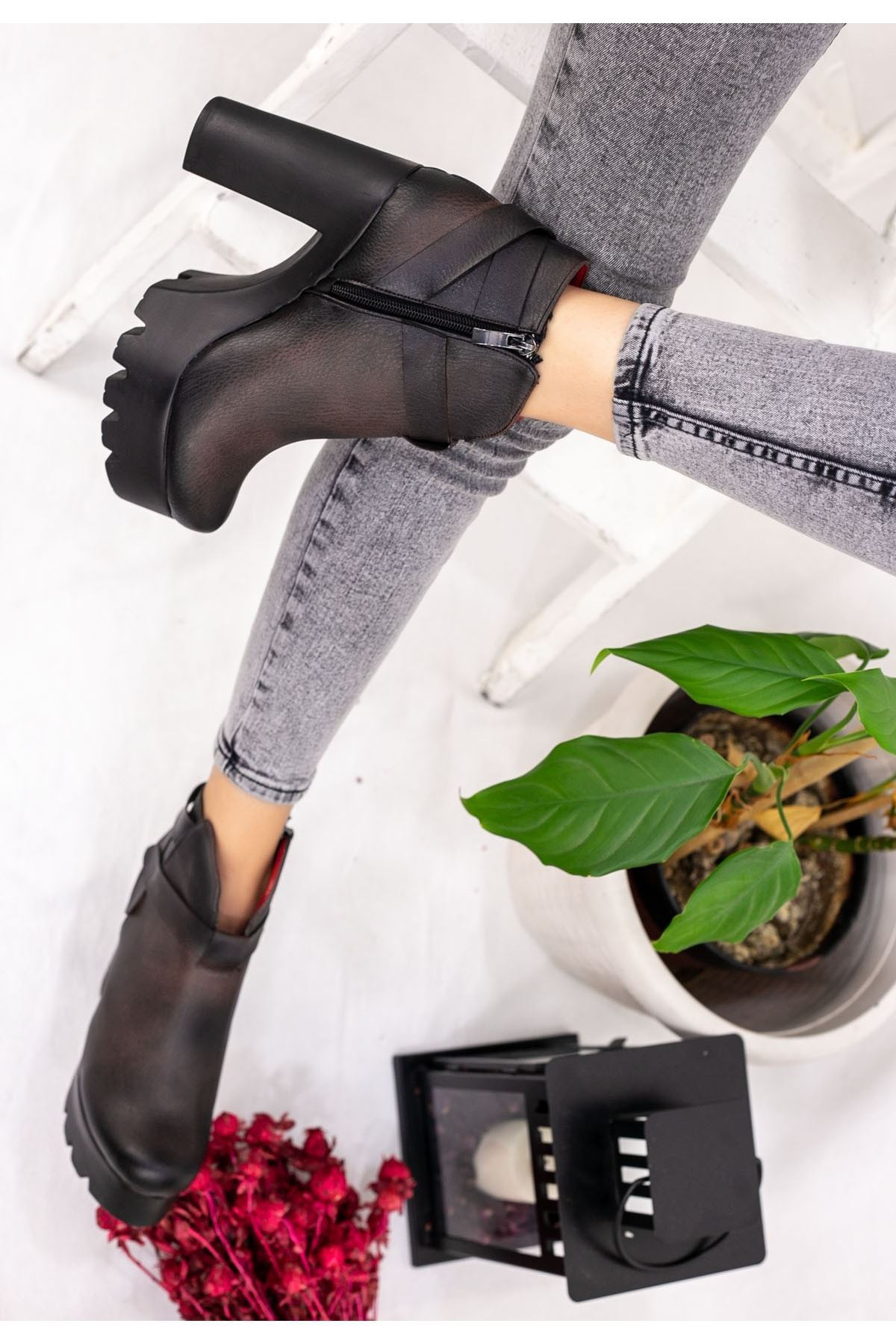 Brayden Kahverengi Cilt Platform Topuk Bot