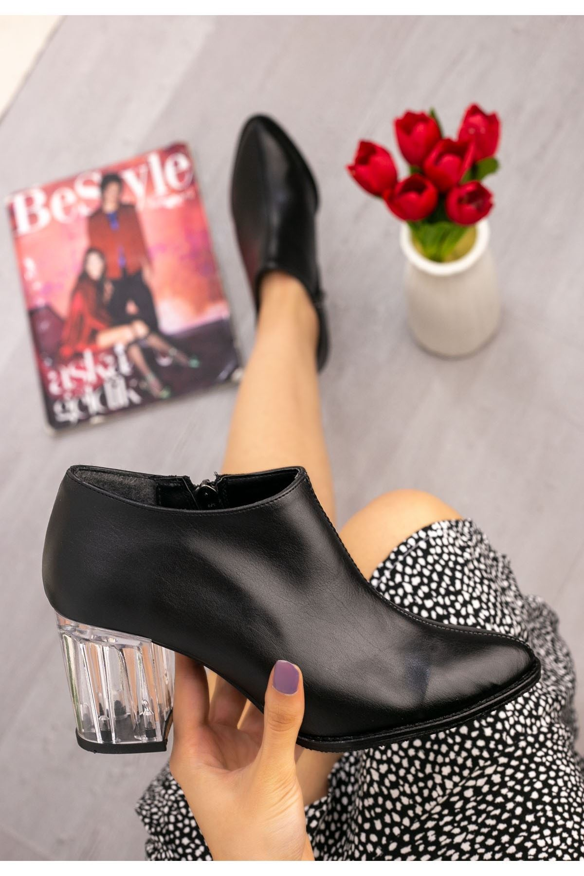 Lorine Siyah Cilt Şeffaf Topuklu Bot