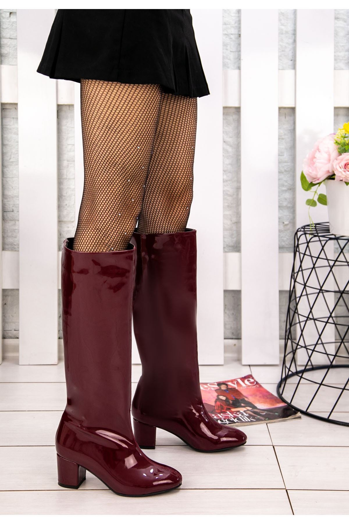Tayaxi Bordo Rugan Çizme