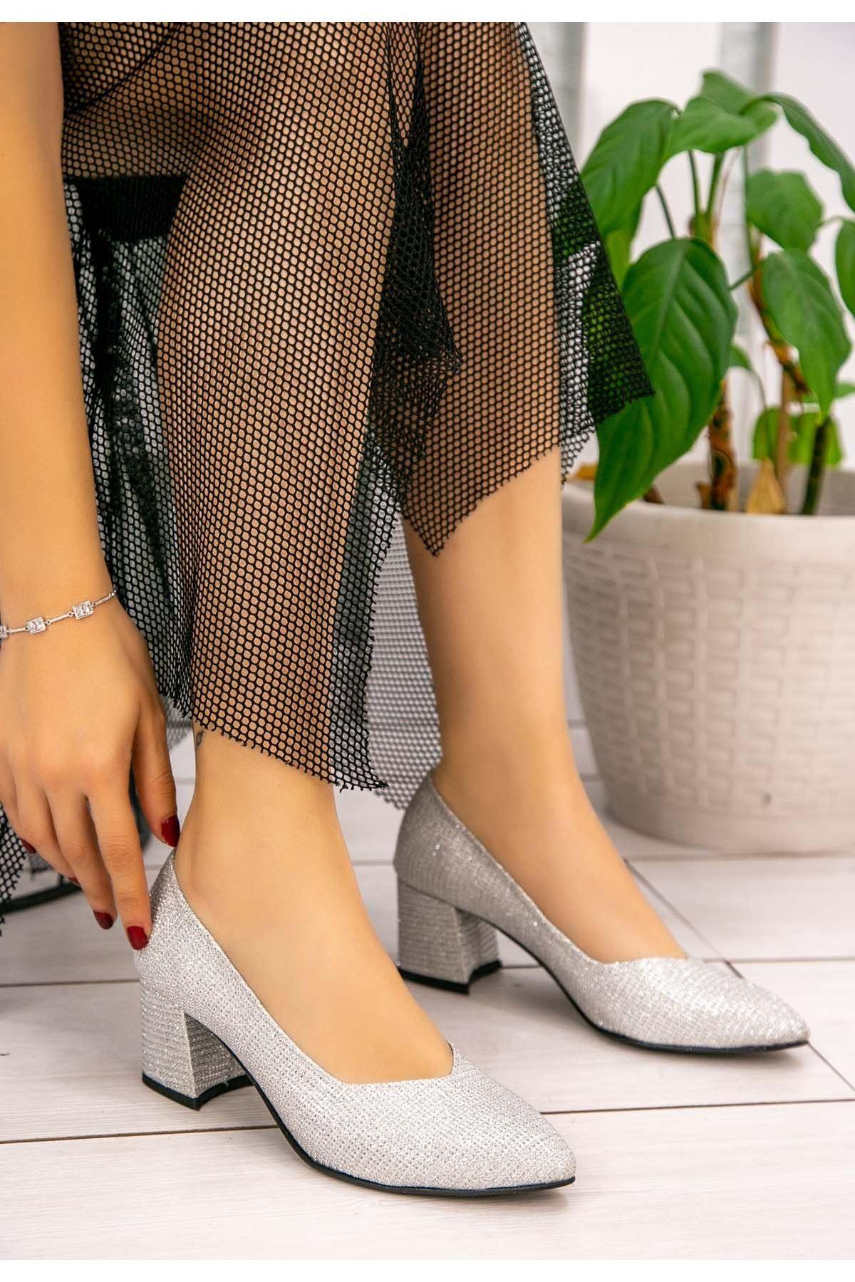 Tammy Gümüş Simli Topuklu Ayakkabı