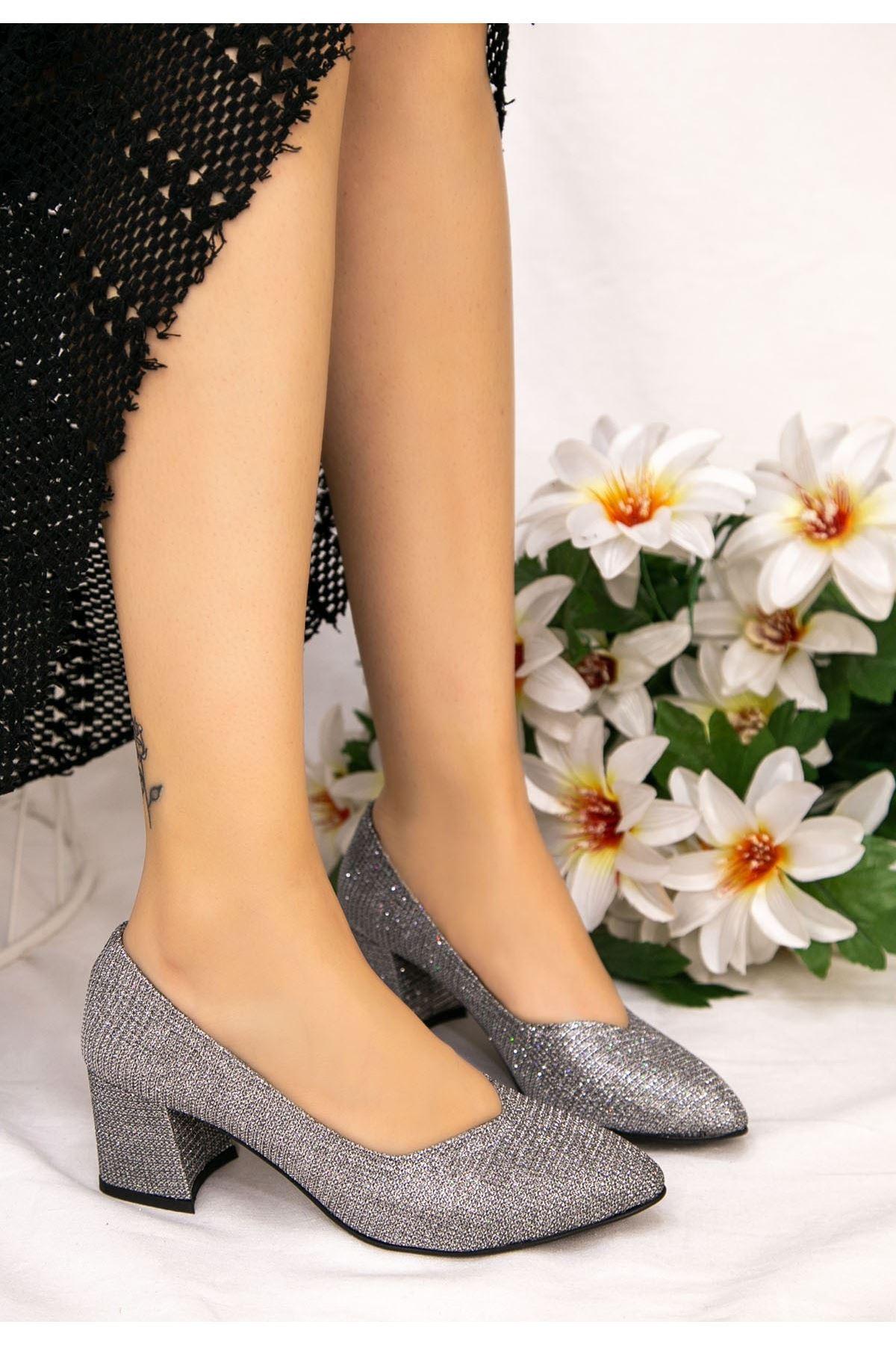 Tammy Platin Simli Topuklu Ayakkabı