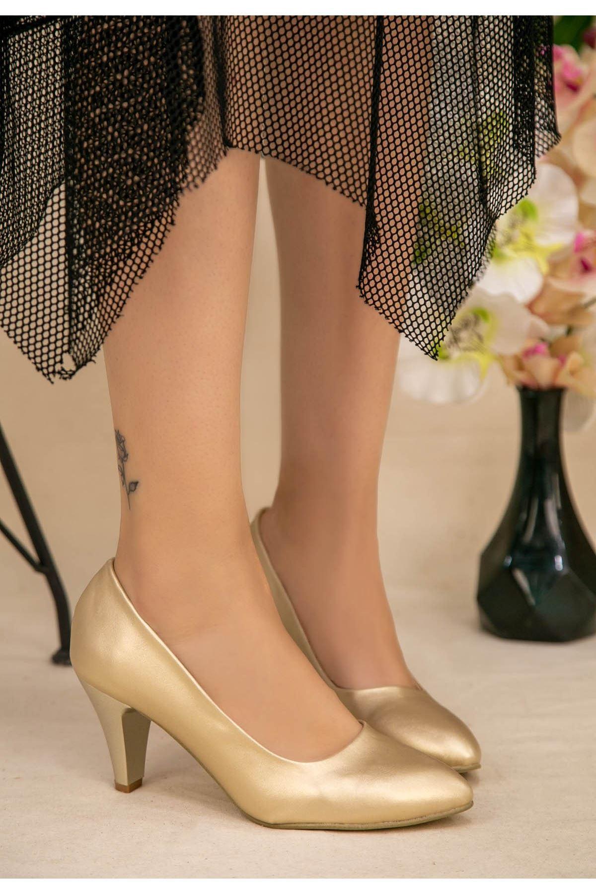 Rug Gold Cilt Topuklu Ayakkabı