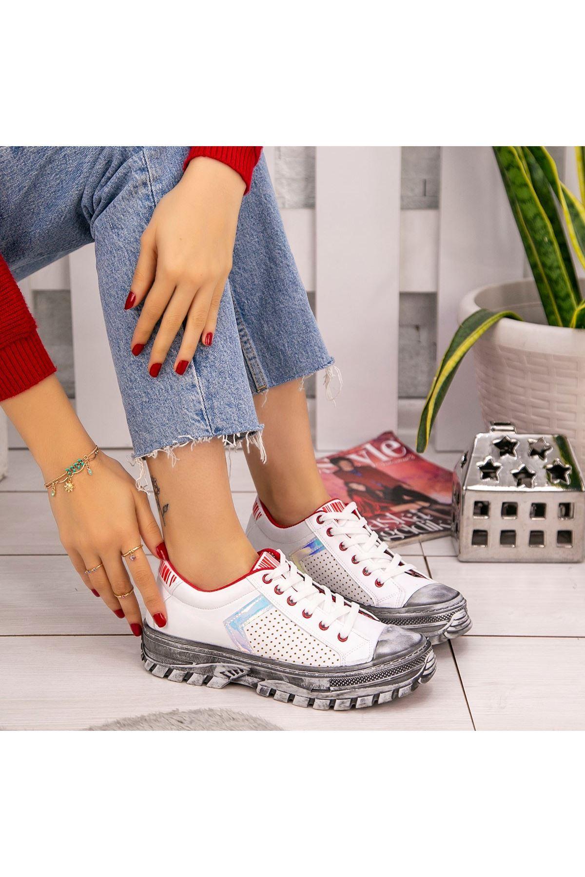 Mody Beyaz Cilt Kırmızı Detaylı Spor Ayakkabı