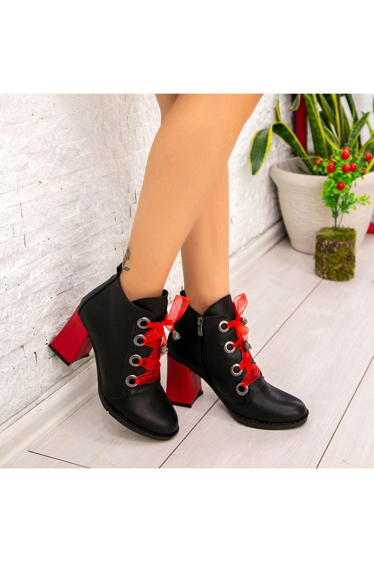 Sacira Siyah Cilt Kırmızı Topuklu Bot
