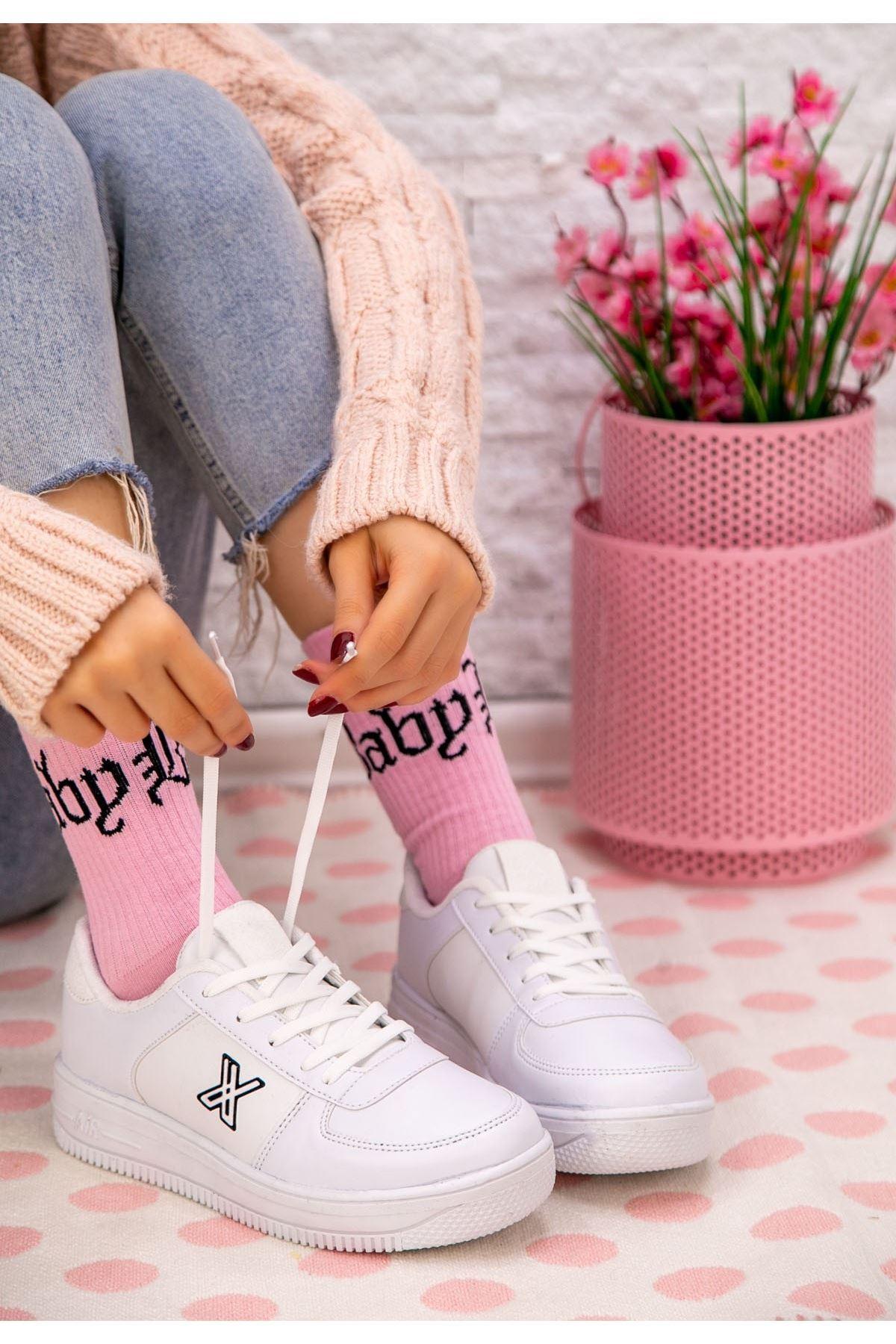 Smox Beyaz Cilt Spor Ayakkabı