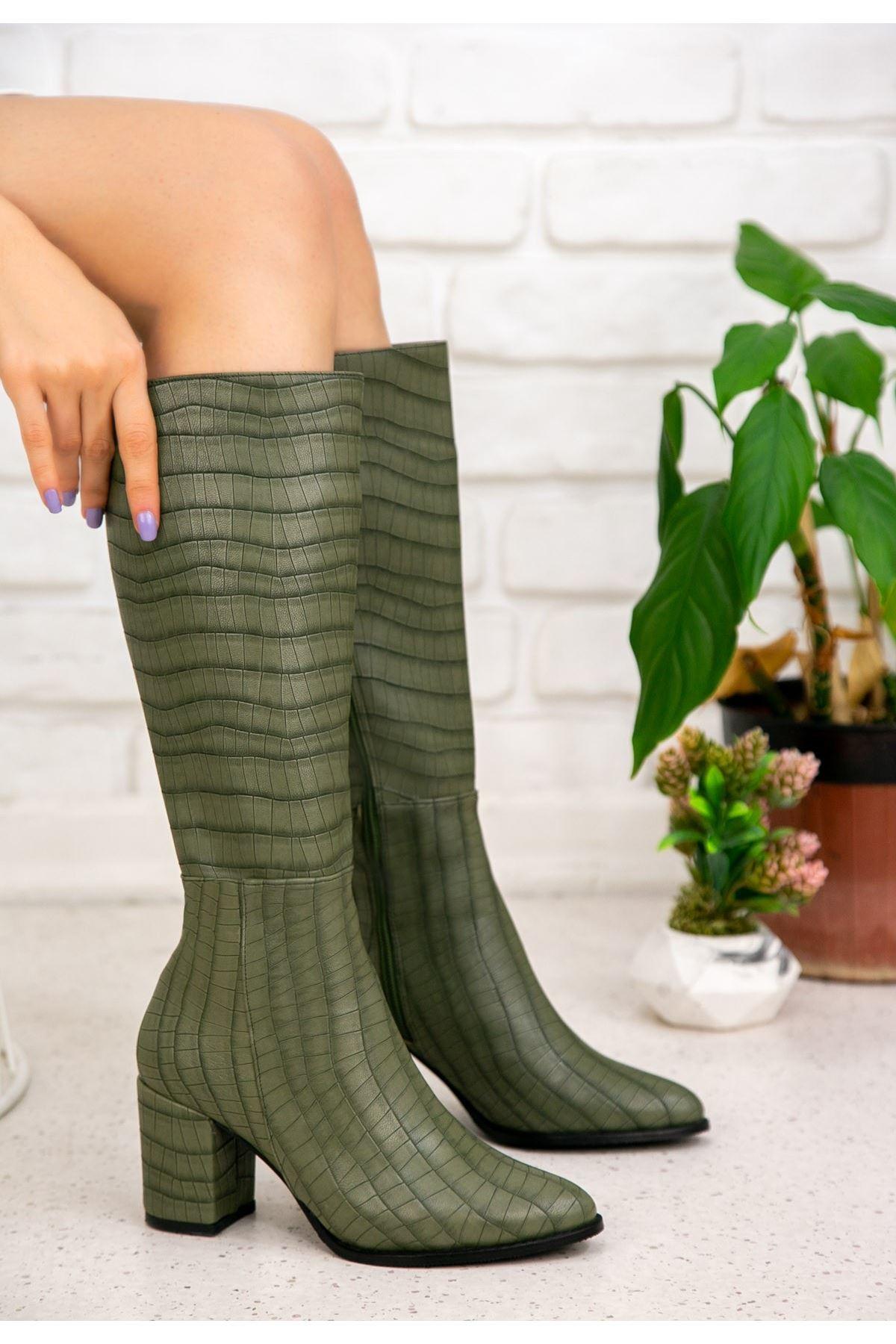 Morena Haki Yeşil Cilt Desenli Çizme