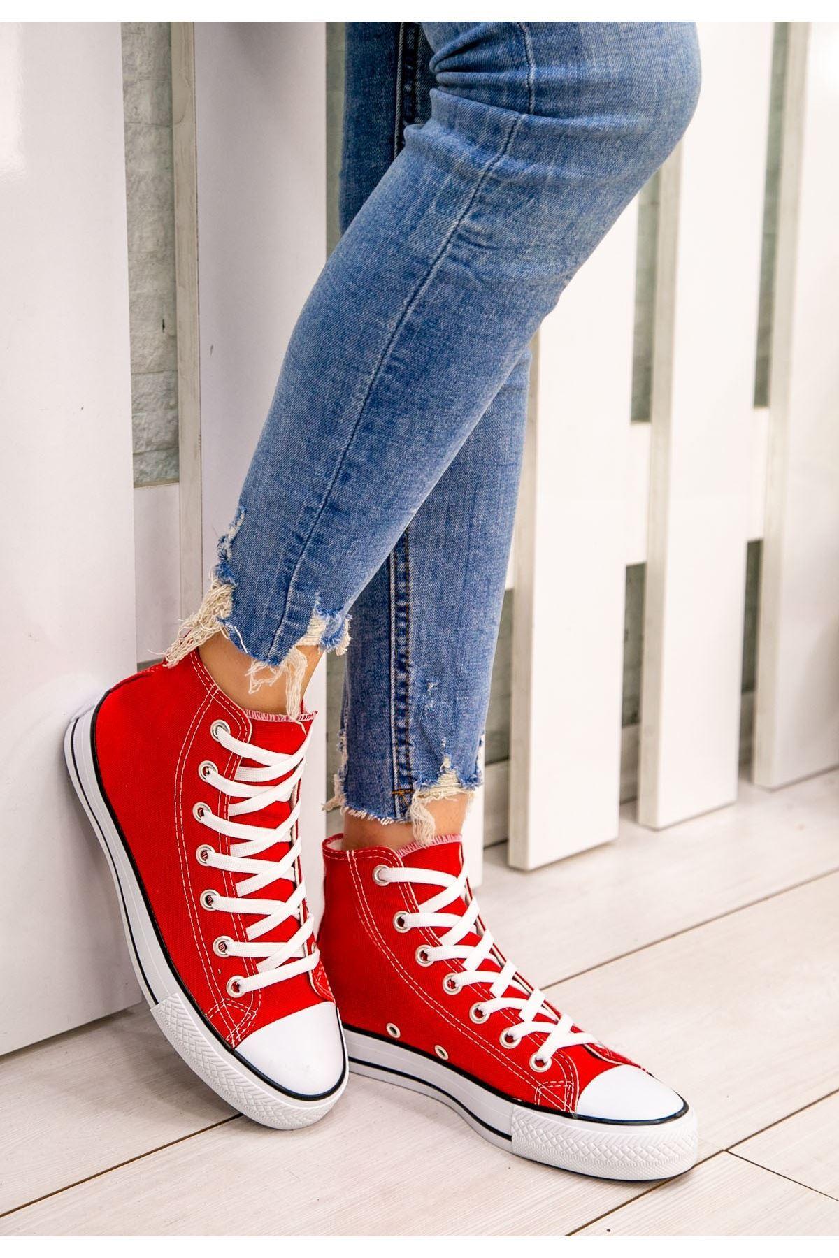 Kori Kırmızı Keten Bot Spor Ayakkabı