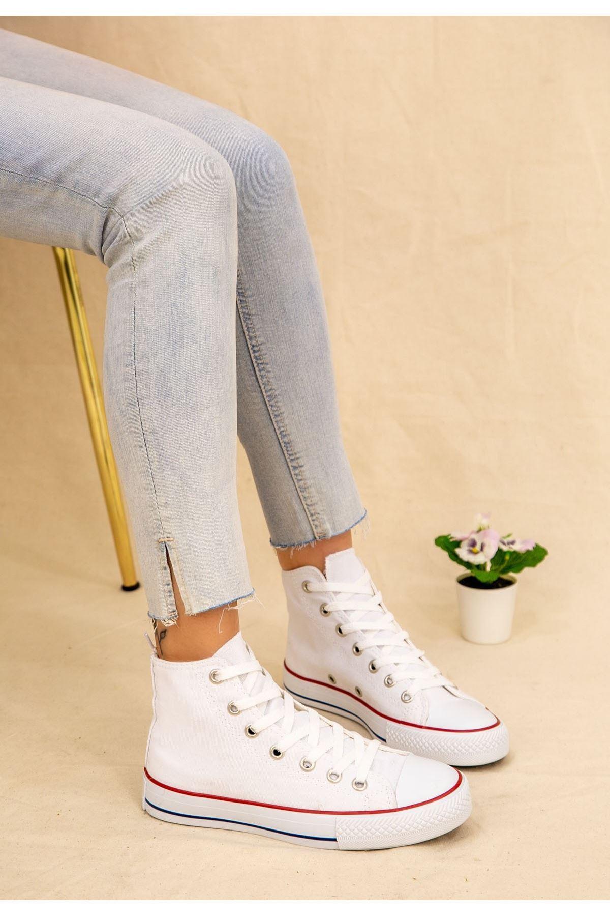 Kori Beyaz Keten Bot Spor Ayakkabı