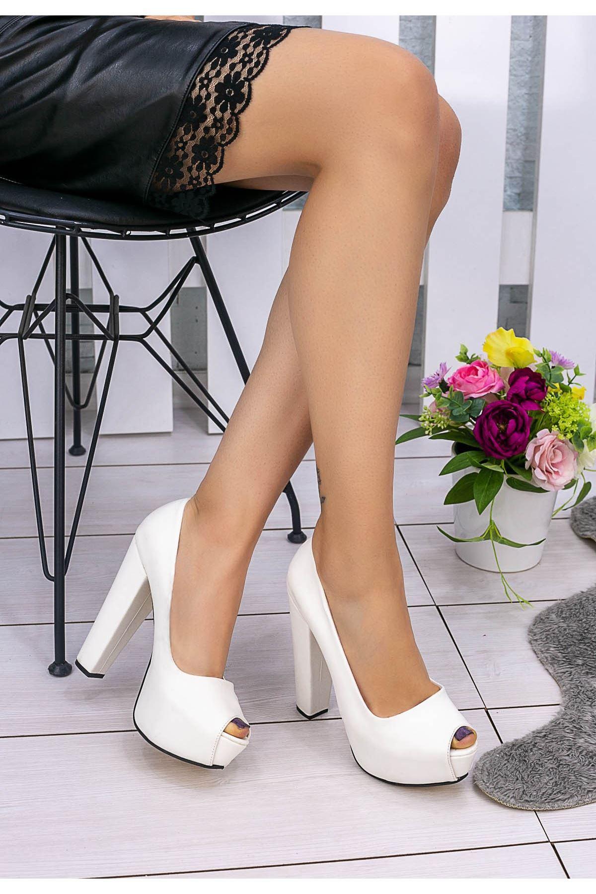 Lajixi Beyaz Cilt Platform Topuk Ayakkabı