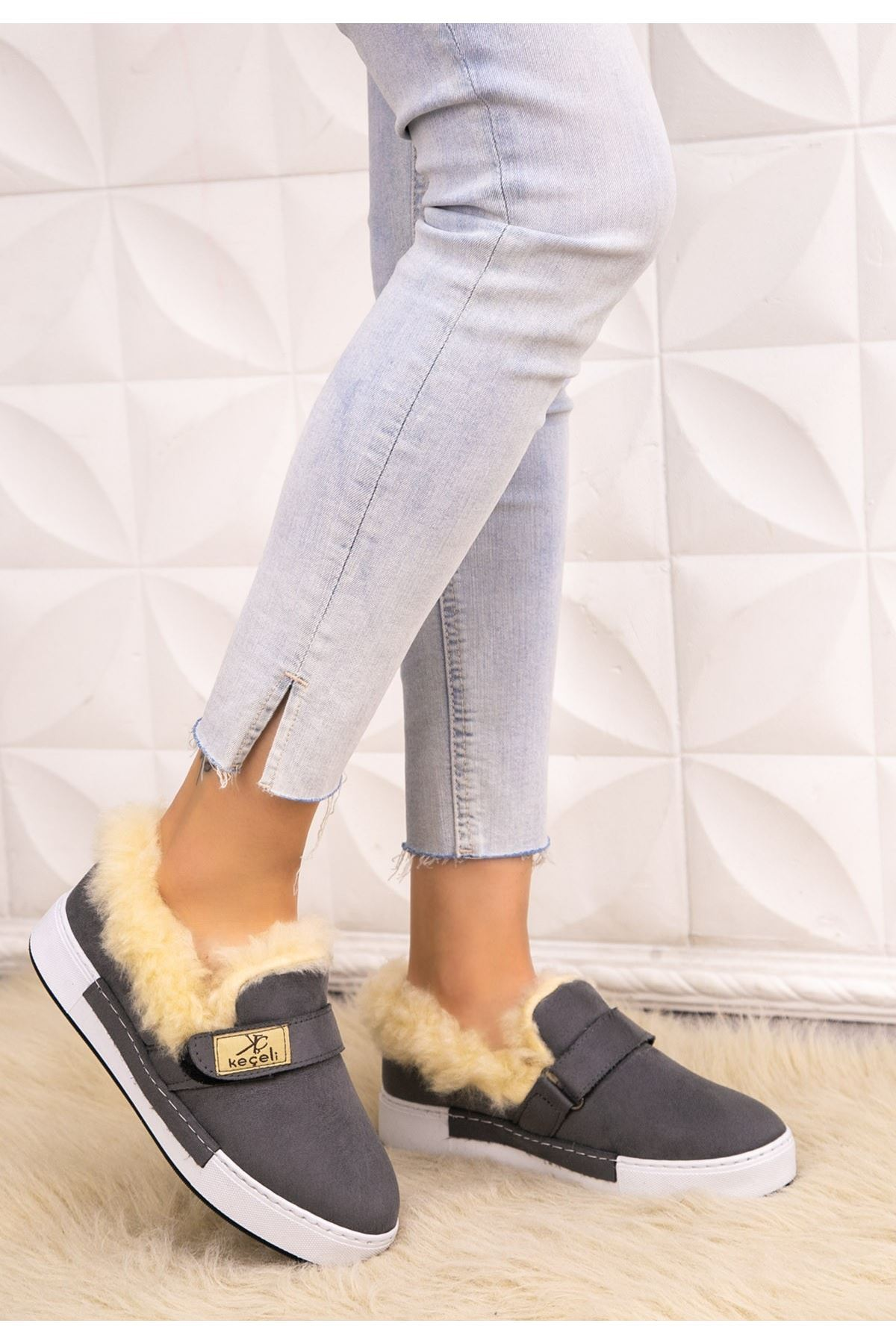 Rion Gri Süet Babet Ayakkabı
