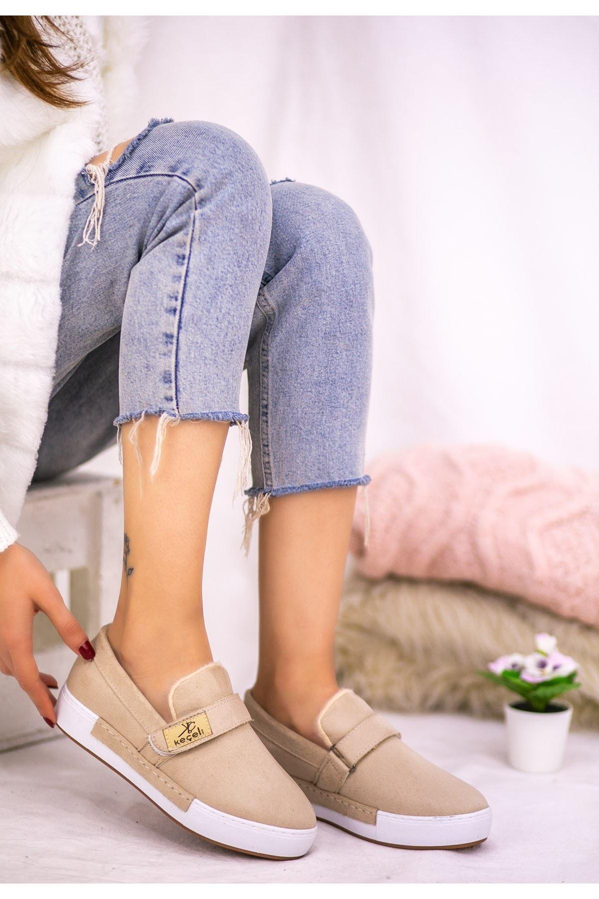 Verni Krem Süet Babet Ayakkabı