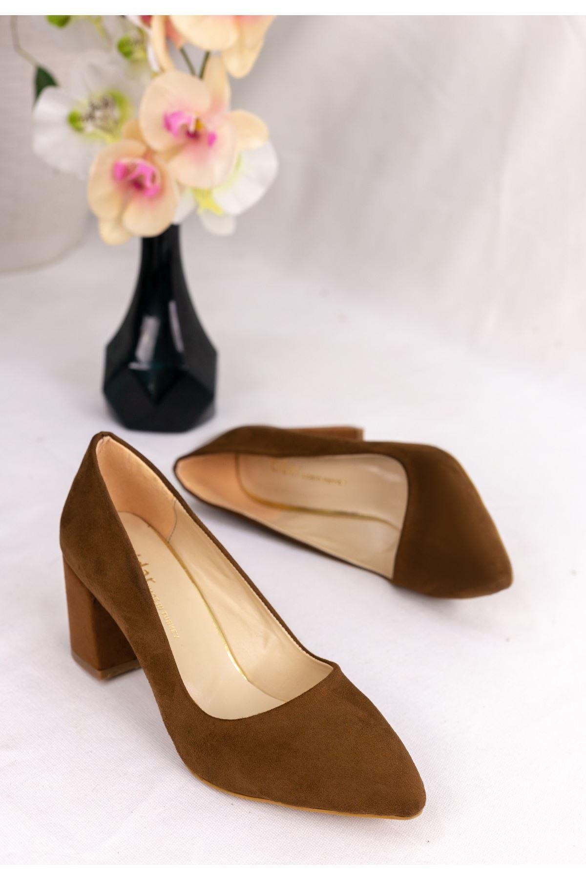 Sedoni Taba Süet Topuklu Ayakkabı