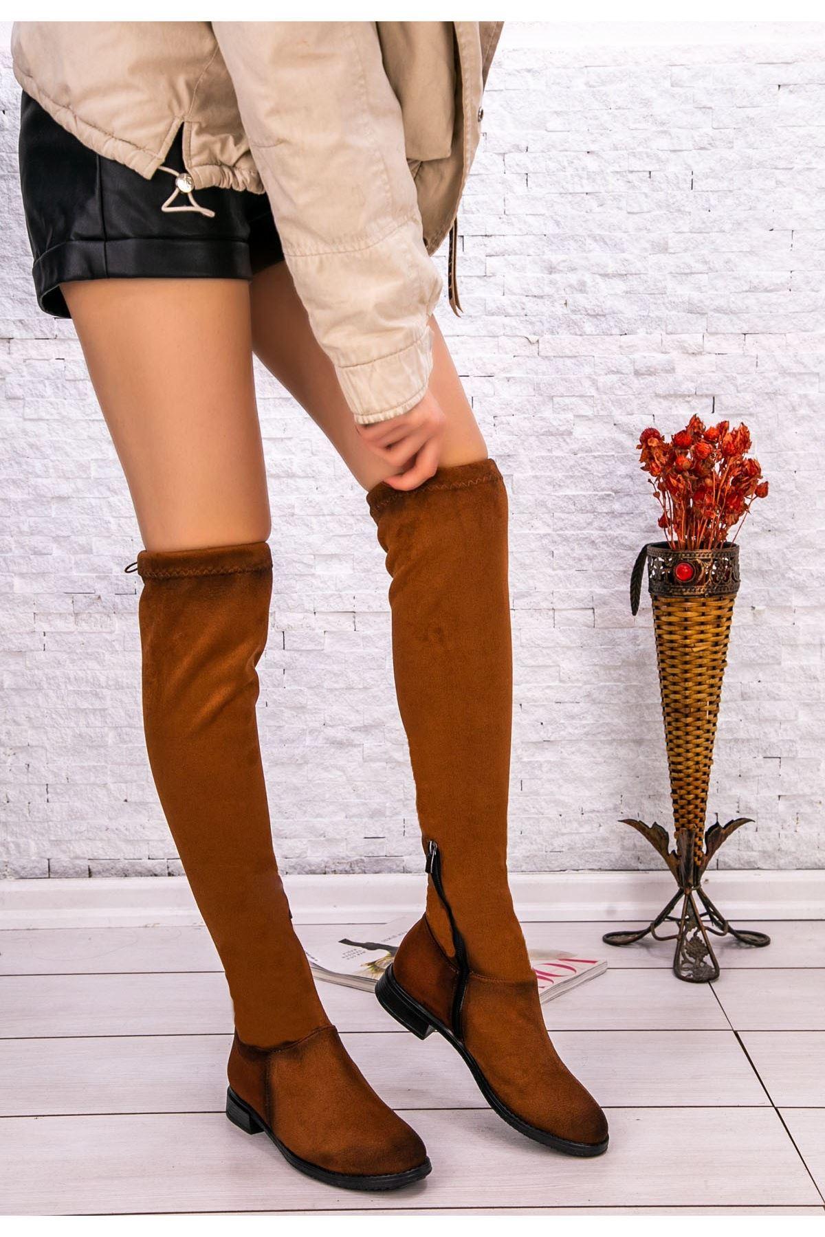 Nela Taba Süet Çorap Çizme