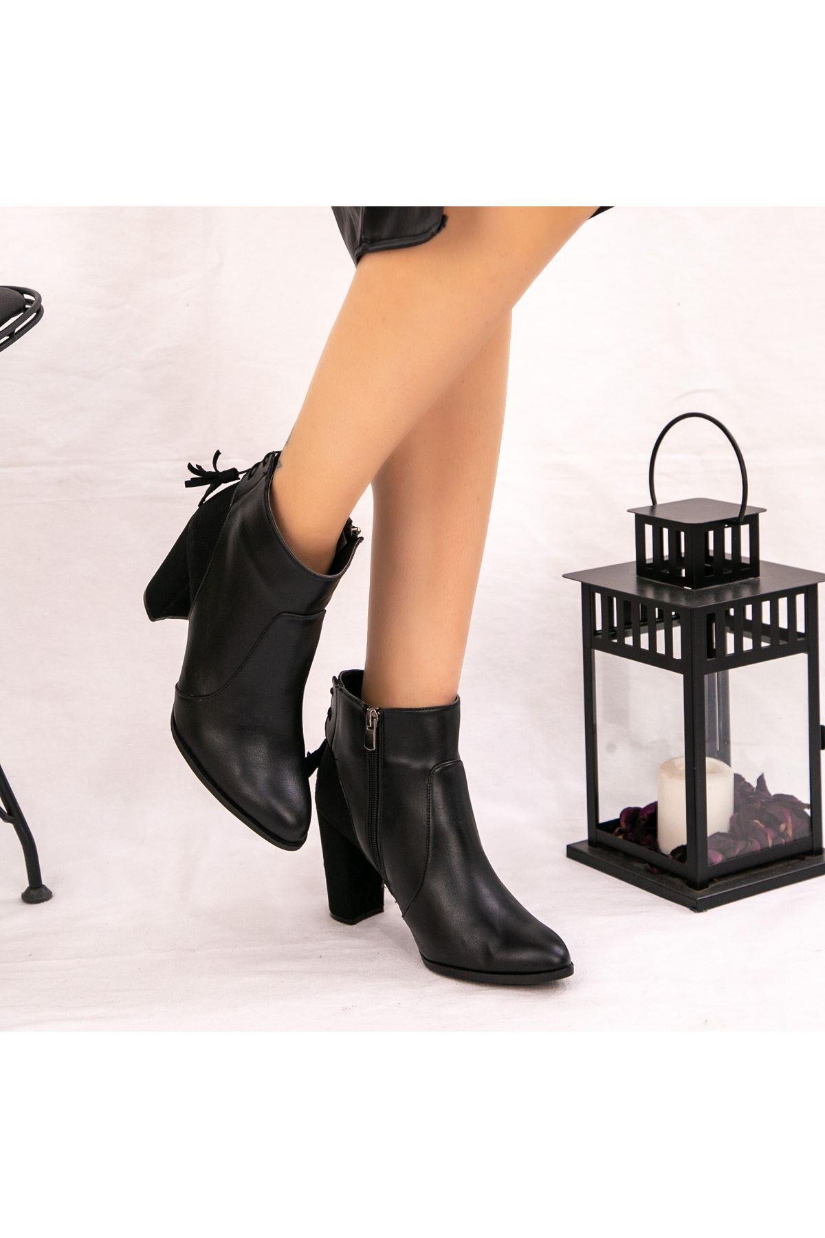 Jiya Siyah Cilt Topuklu Bot