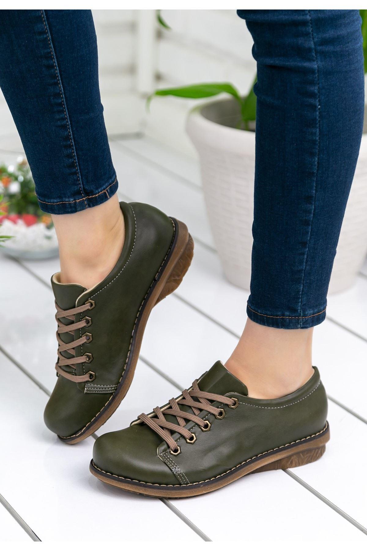 Beliniya Haki Yeşil Cilt Oxford Ayakkabı