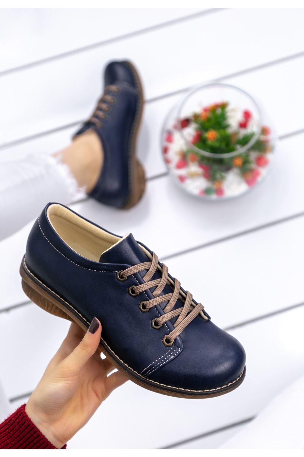 Beliniya Lacivert Cilt Oxford Ayakkabı