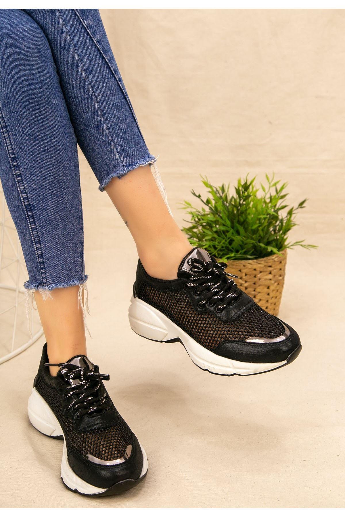 Miss Siyah Cilt Fileli Spor Ayakkabı