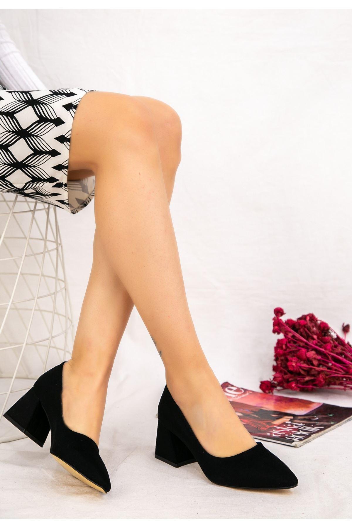 Modx Siyah Süet Topuklu Ayakkabı