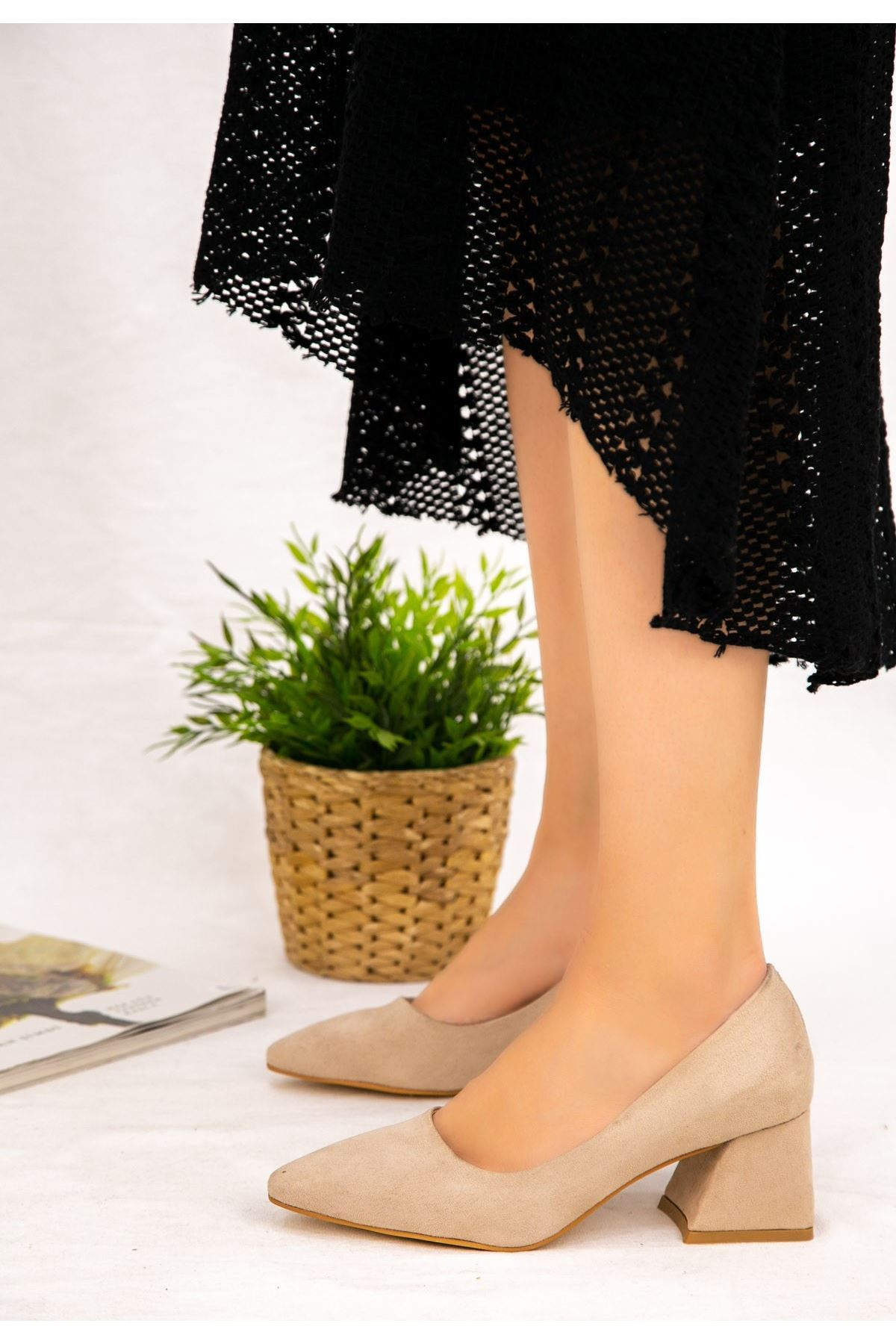 Modx Vizon Süet Topuklu Ayakkabı