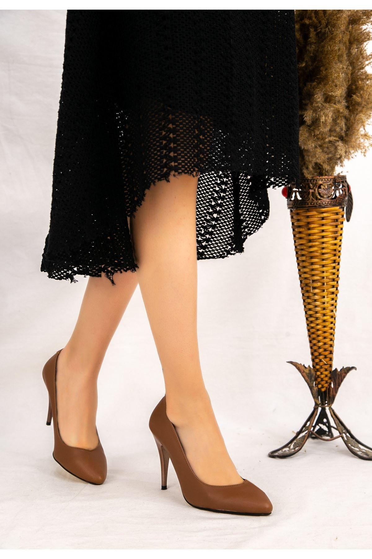 Revaxi Taba Cilt Stiletto Ayakkabı