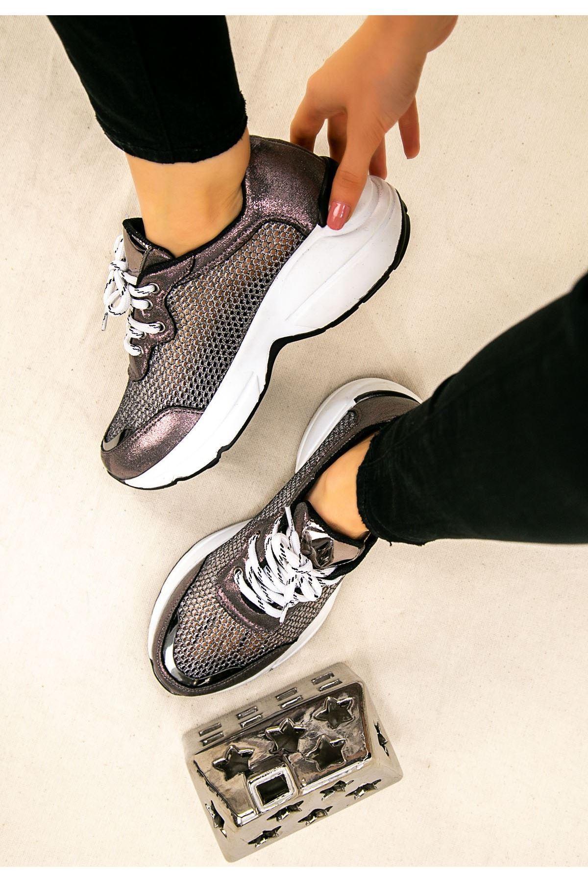 Miss Platin Cilt Fileli Spor Ayakkabı