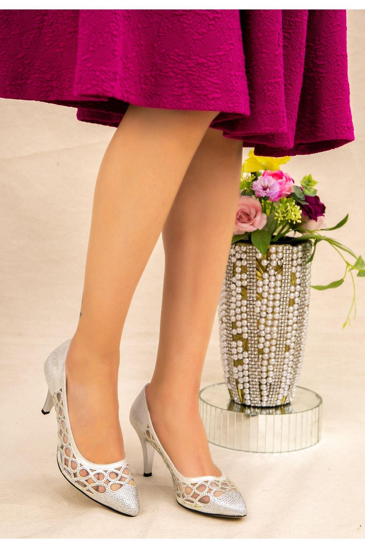 Rome Gümüş Stiletto Ayakkabı