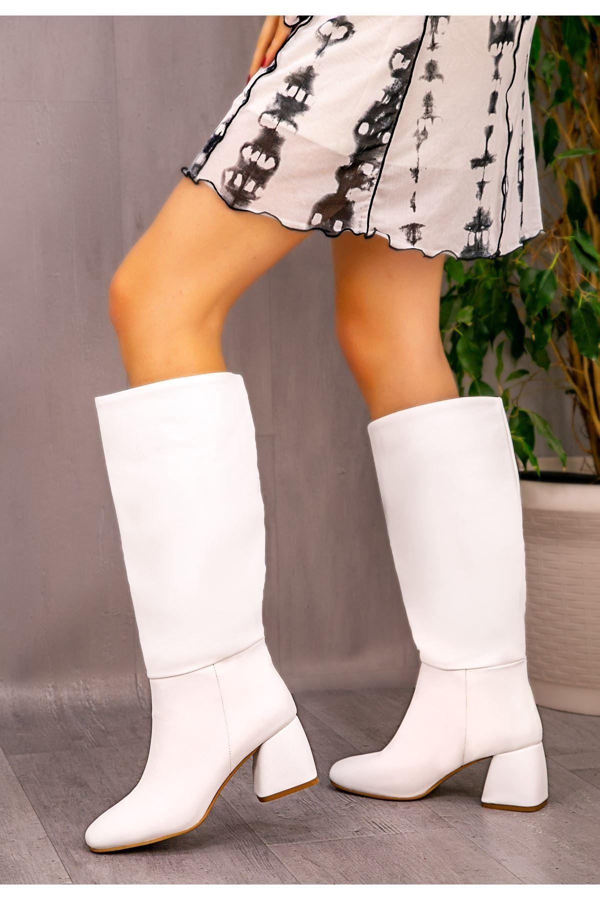 Verti Beyaz Cilt Topuklu Çizme