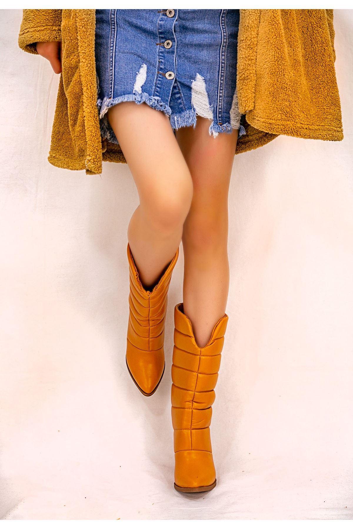 Artx Camel Cilt Topuklu Çizme