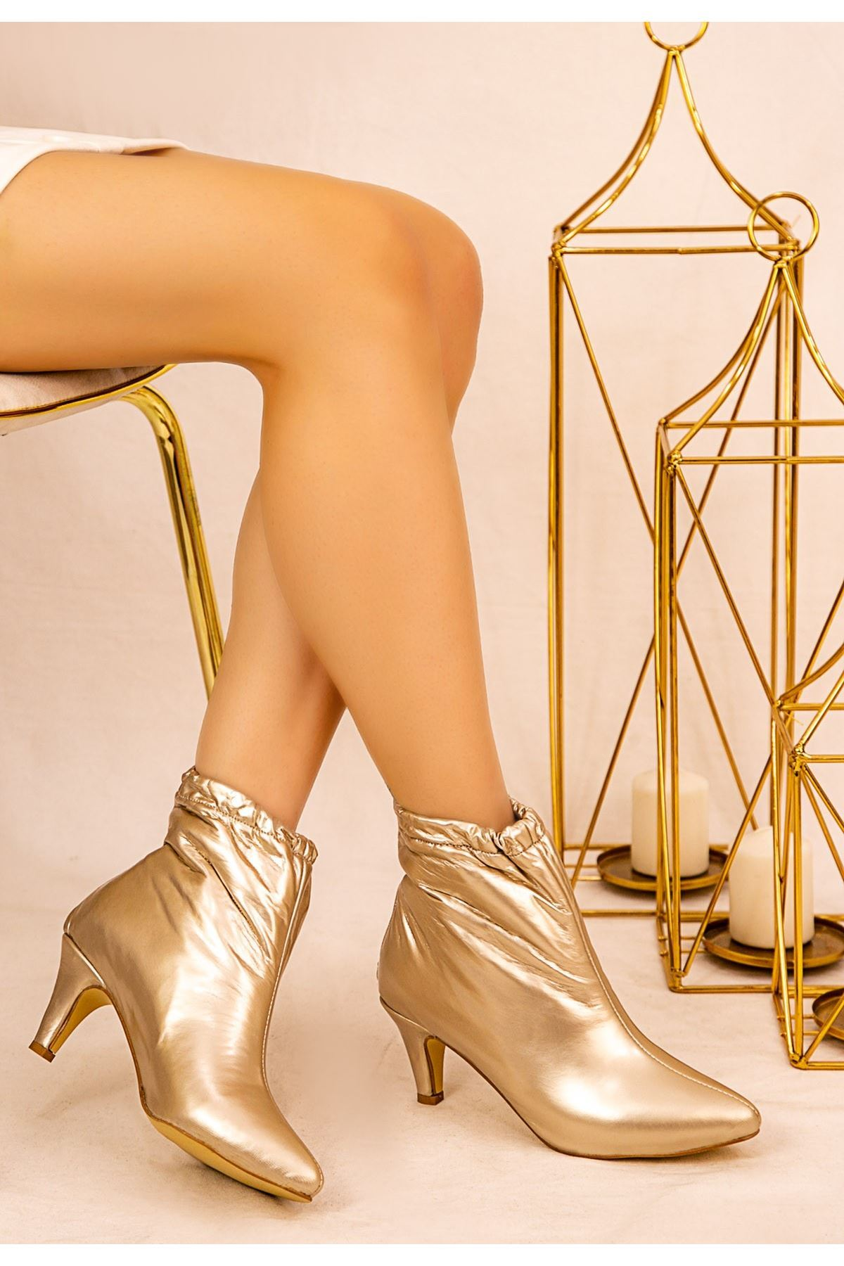 Ava Gold Cilt Topuklu Bot