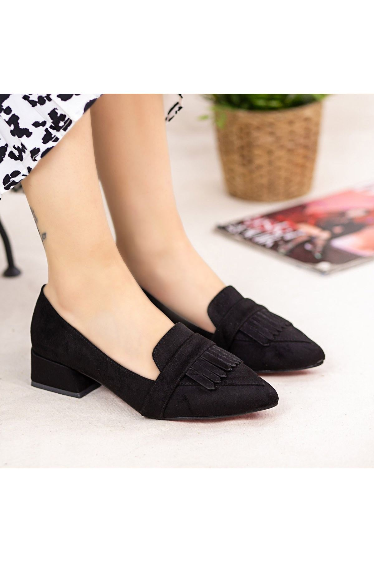 Erb006 Siyah Süet Topuklu Ayakkabı