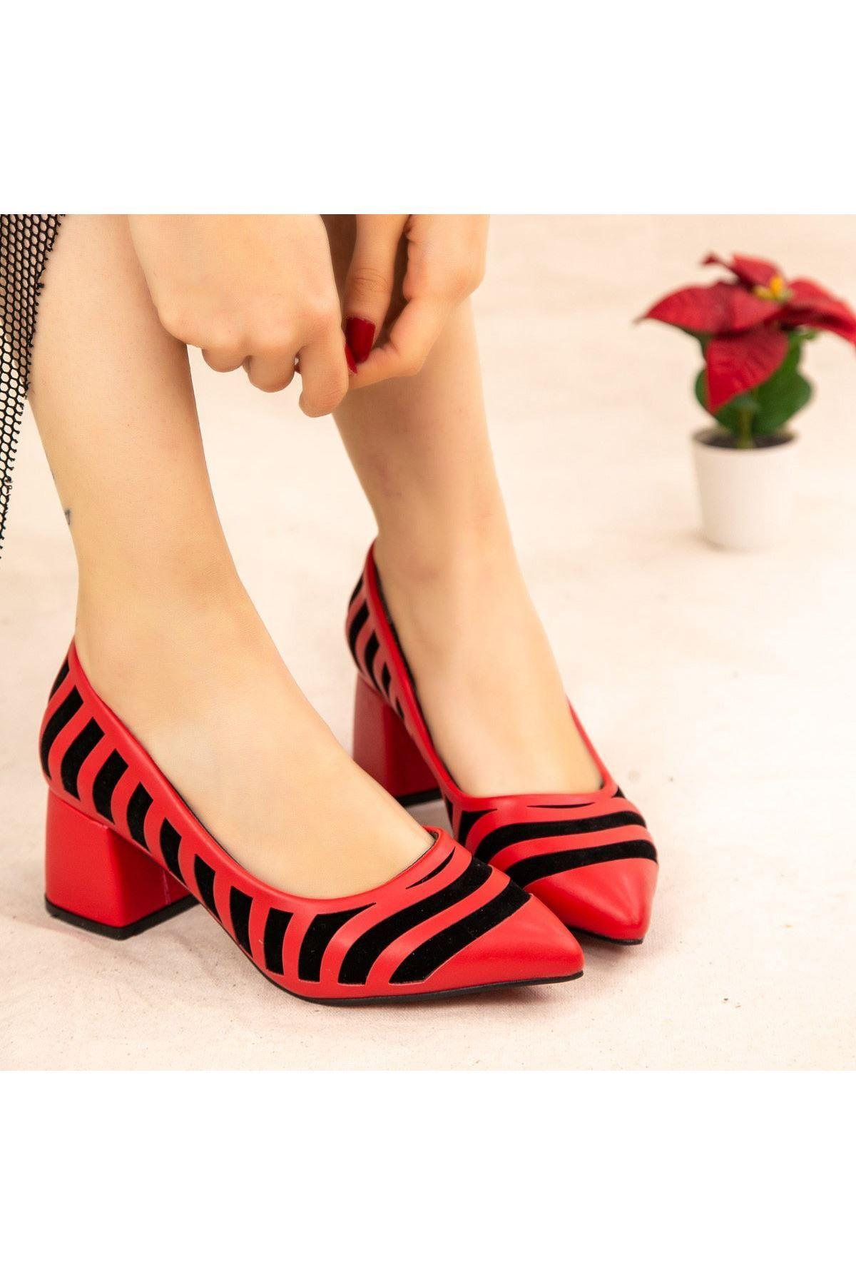 Guld Kırmızı Cilt Siyah Detaylı Ayakkabı