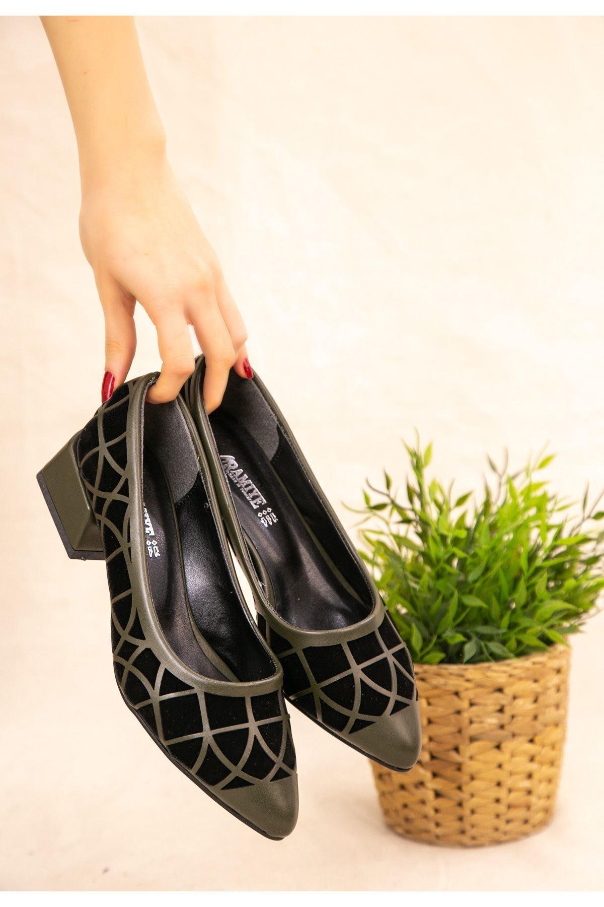 Cesxi Haki Yeşil Cilt Siyah Süet Detaylı Ayakkabı
