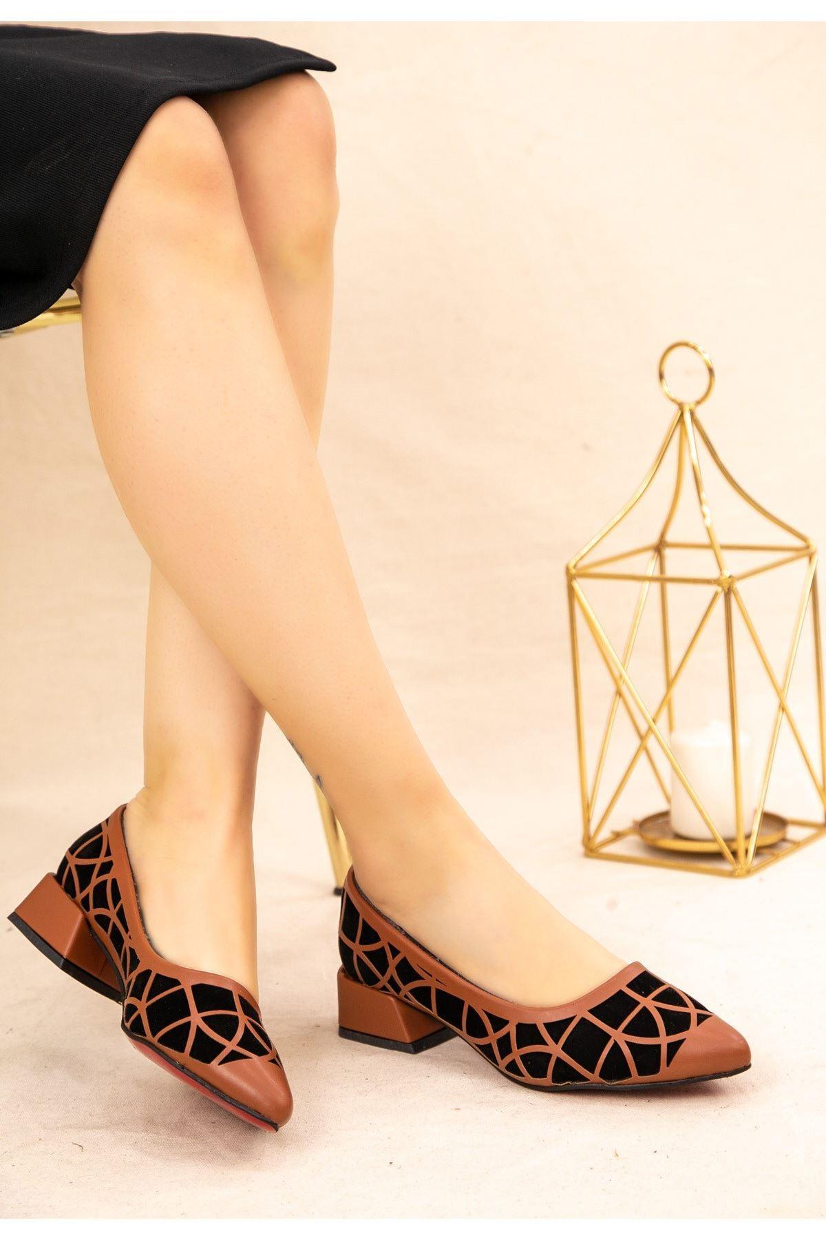 Cesxi Taba Cilt Siyah Süet Detaylı Ayakkabı
