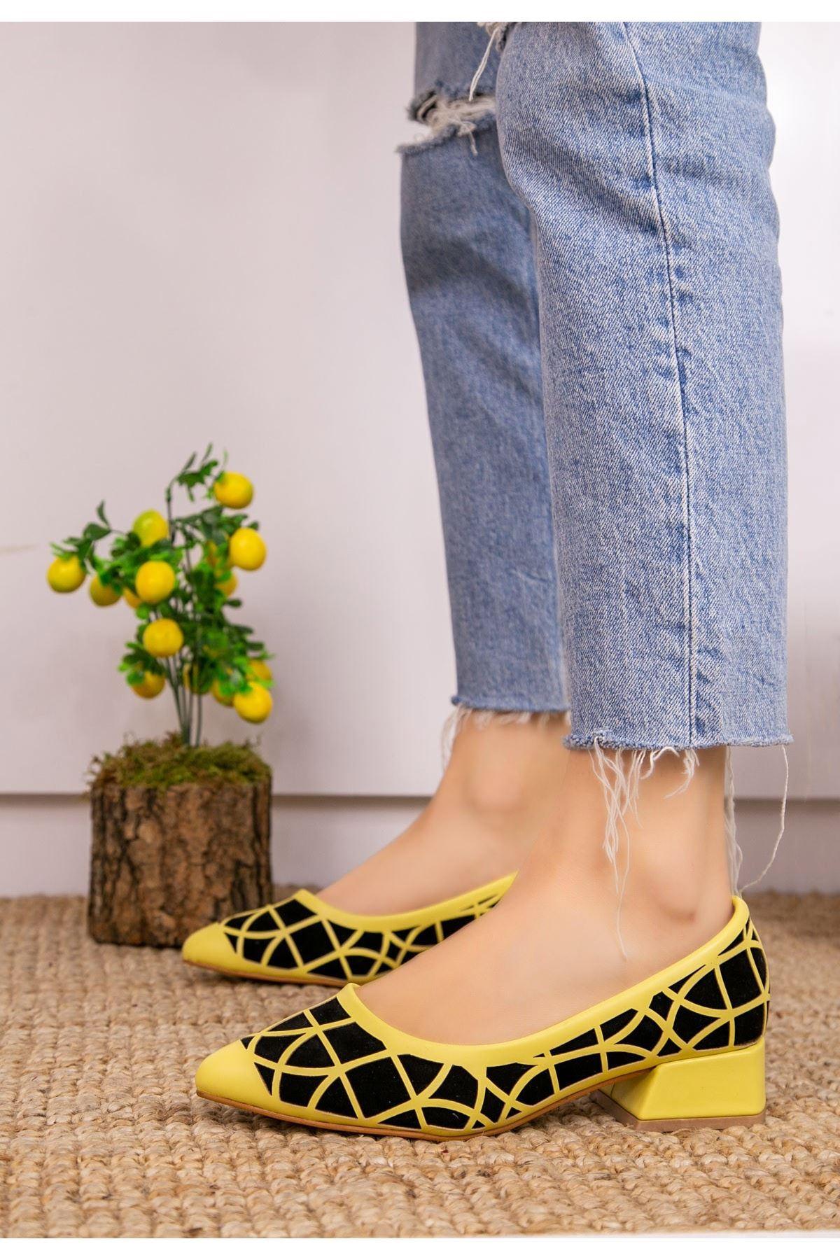 Cesxi Sar Cilt Siyah Süet Detaylı Ayakkabı