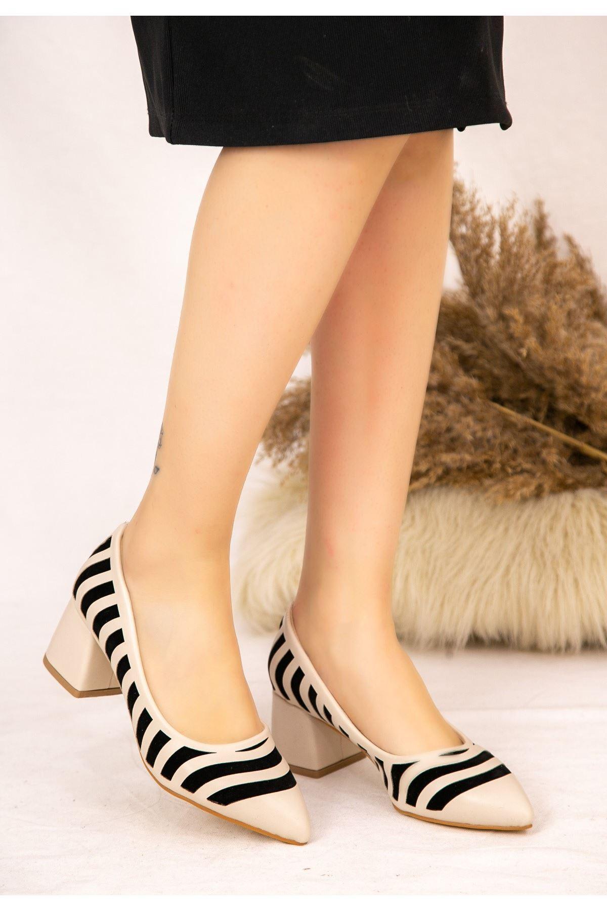 Guld Krem Cilt Siyah Detaylı Ayakkabı