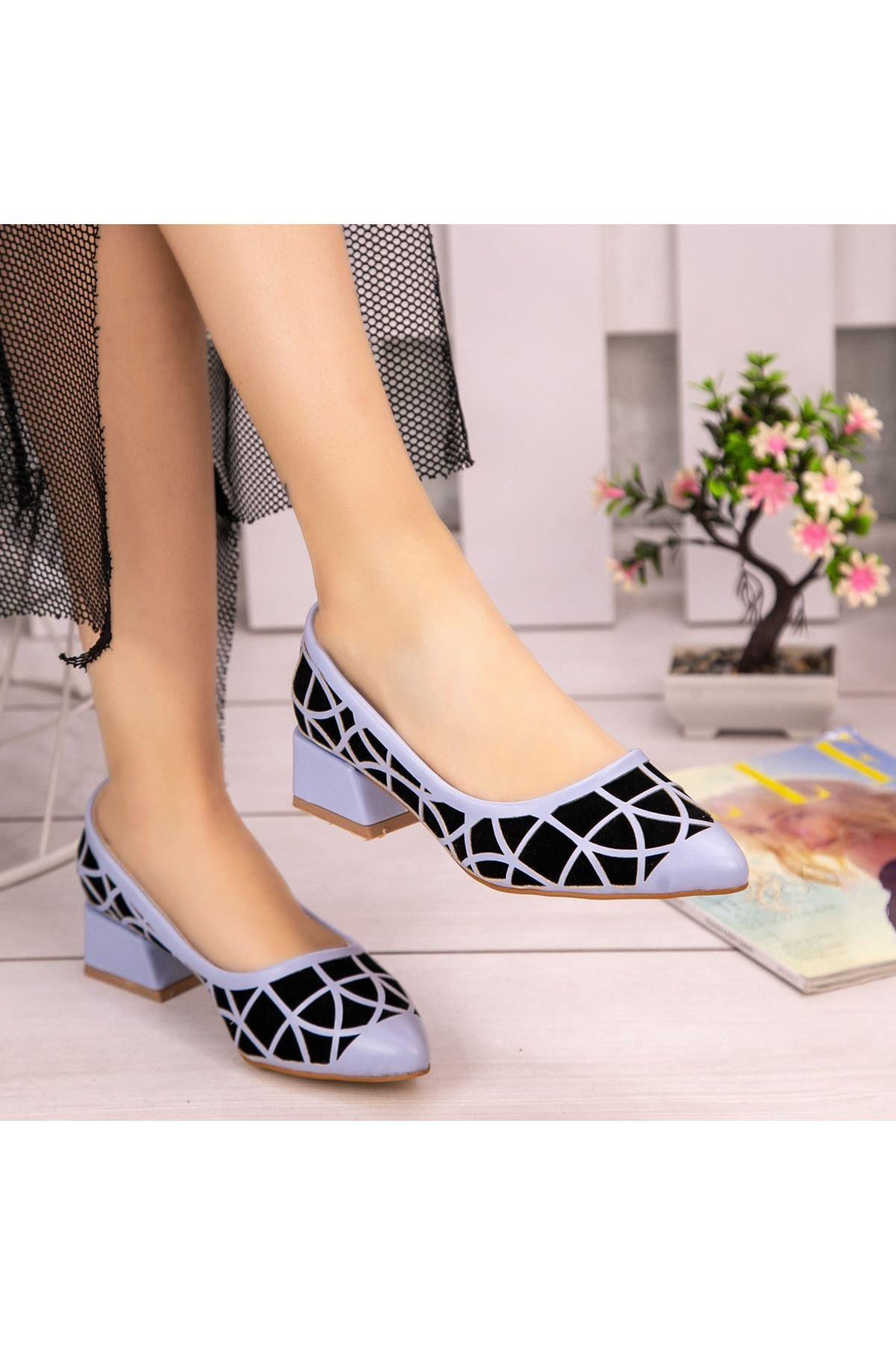 Cesxi Bebe Mavisi Cilt Siyah Süet Detaylı Ayakkabı