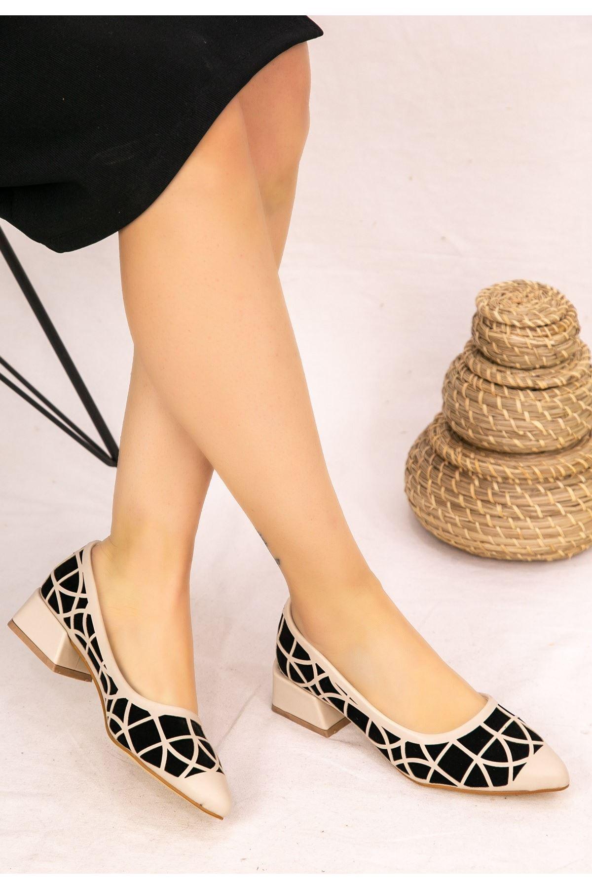 Cesxi Vizon Cilt Siyah Detaylı Ayakkabı