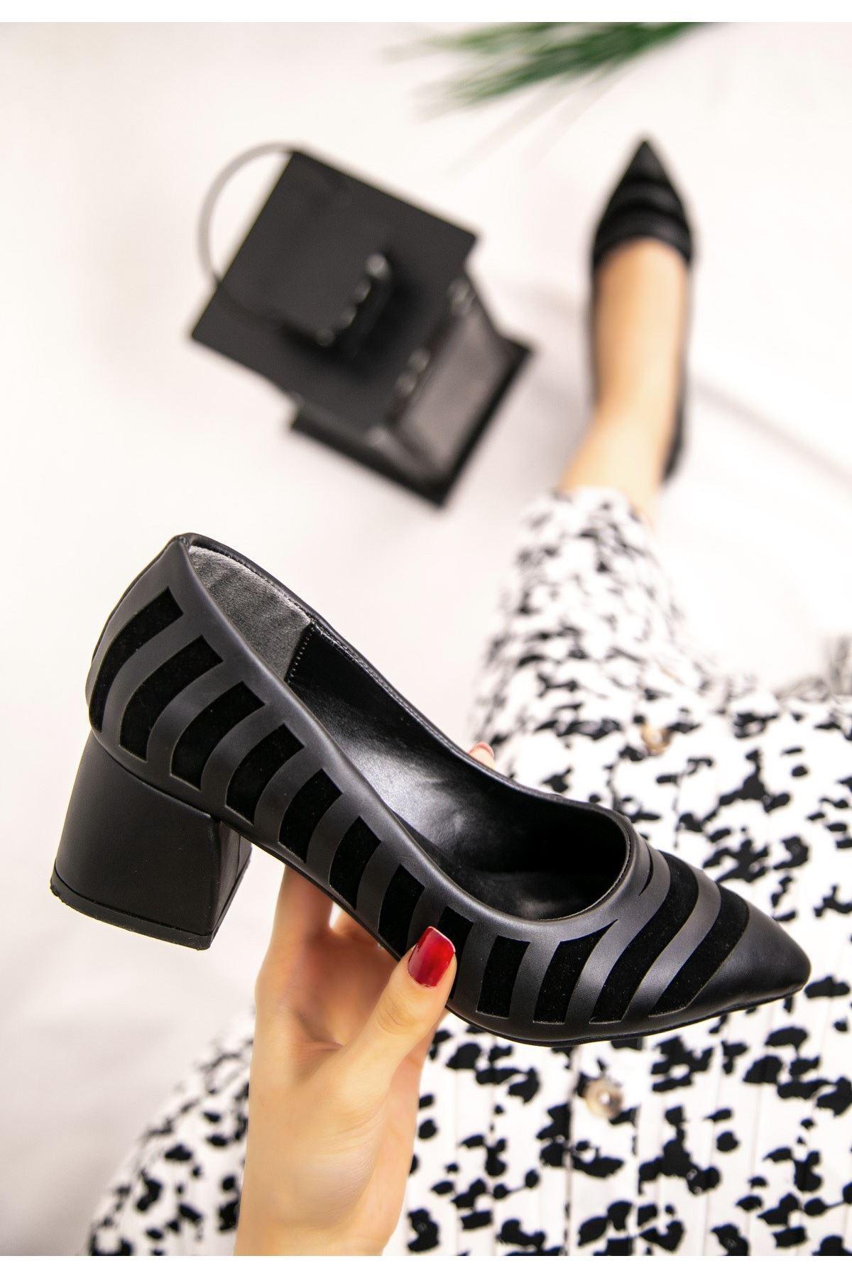 Guld Siyah Cilt Siyah Detaylı Ayakkabı