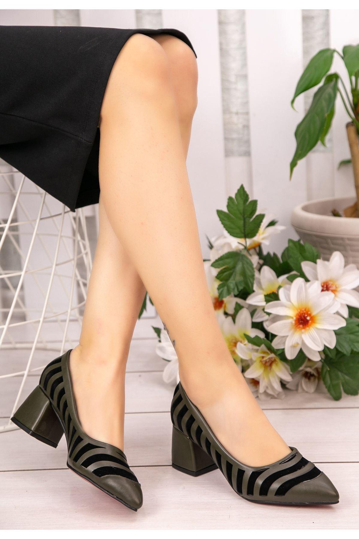 Guld Haki Yeşil Cilt Siyah Detaylı Ayakkabı