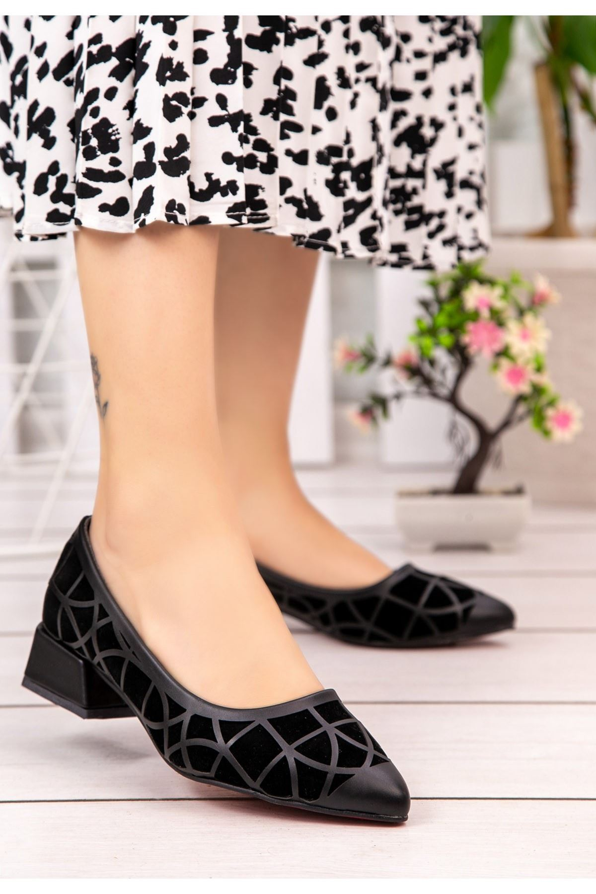 Cesxi Siyah Cilt Siyah Süet Detaylı Ayakkabı