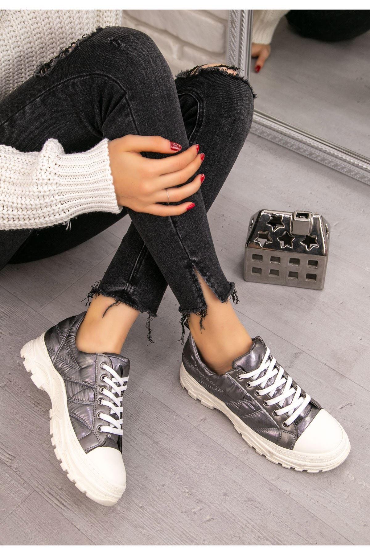 Robet Gri Bağcıklı Spor Ayakkabı