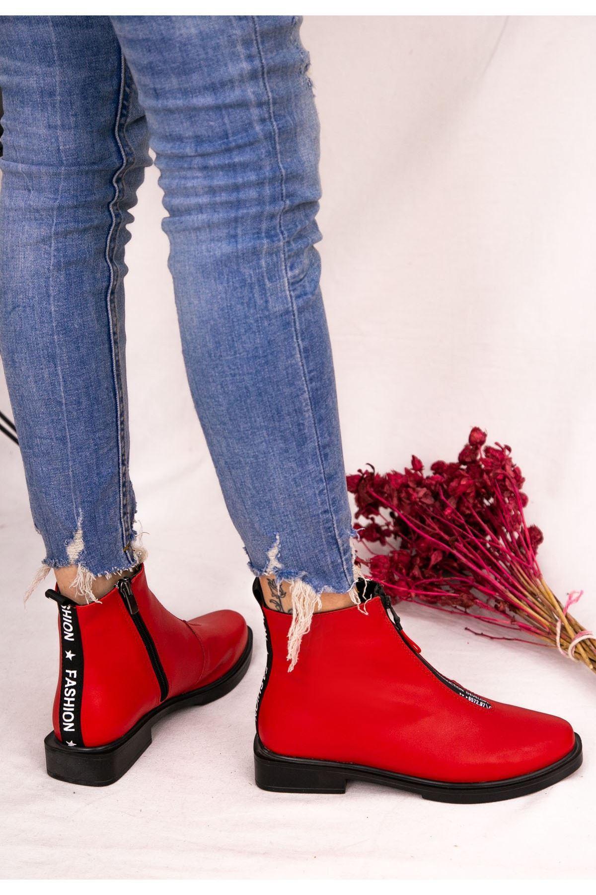 Yandi Kırmızı Cilt Topuklu Bot